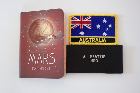 Here's my country badge, my HSO tag and a special Mars passport given to me by scientist Jen Blank on our NASA Spaceward Bound expedition to the Ladakh region of India.