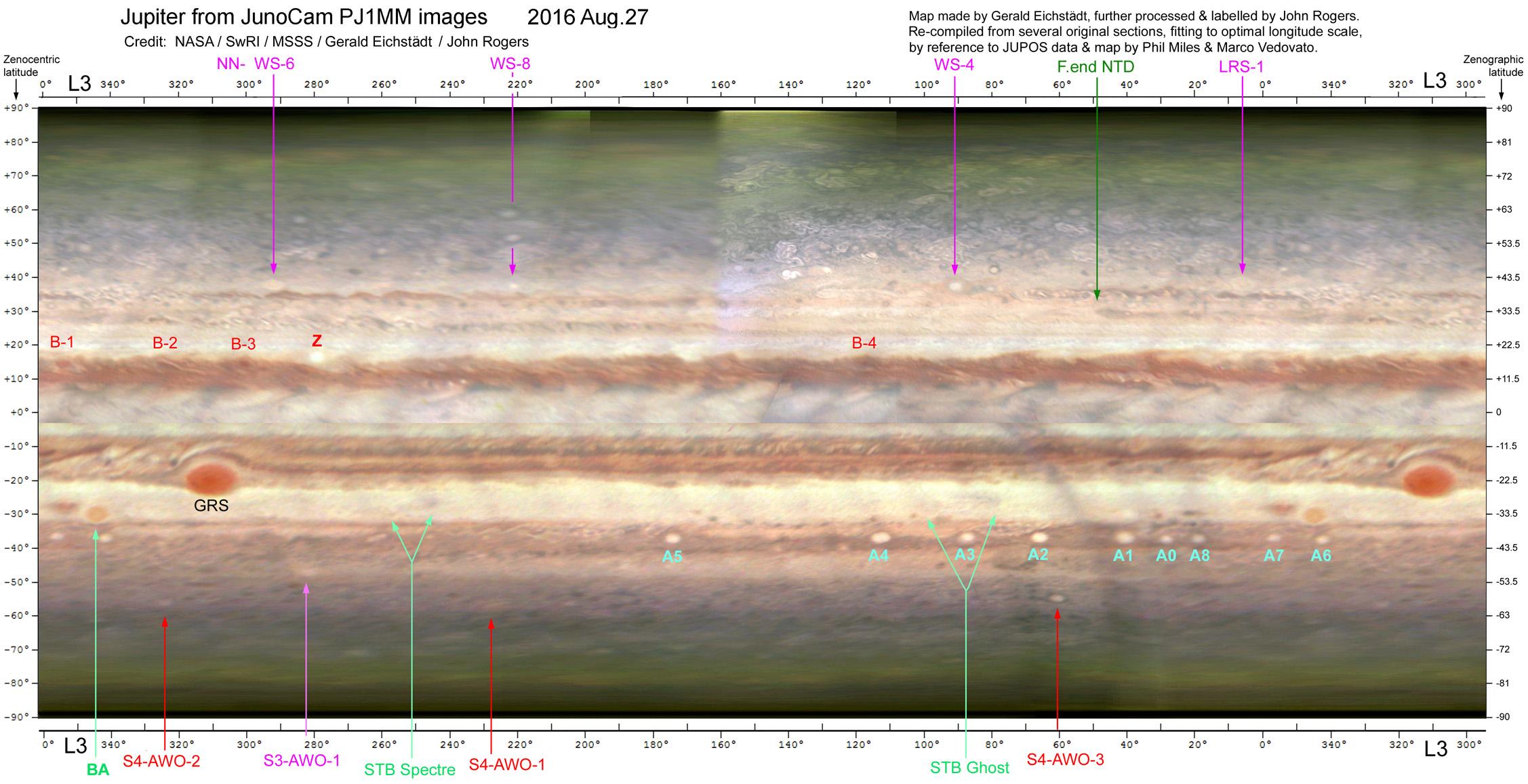 Jupiter Map from JunoCam