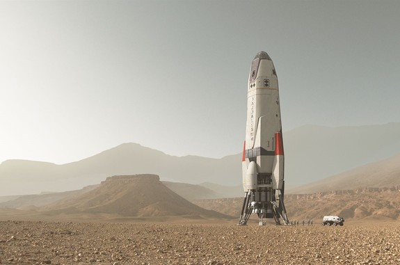 "The Daedulus spacecraft in National Geographic Channel's ""MARS"" miniseries shares a resemblance to SpaceX's Interplanetary Spacecraft."