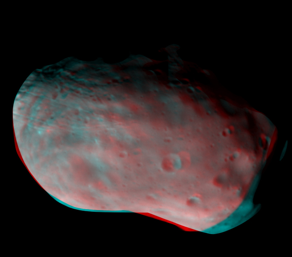 ExoMars orbiter's Color and Stereo Surface Imaging System composed this 3D image of Mars' moon Phobos from from the stereo pair of images collected with two of its four color filters.
