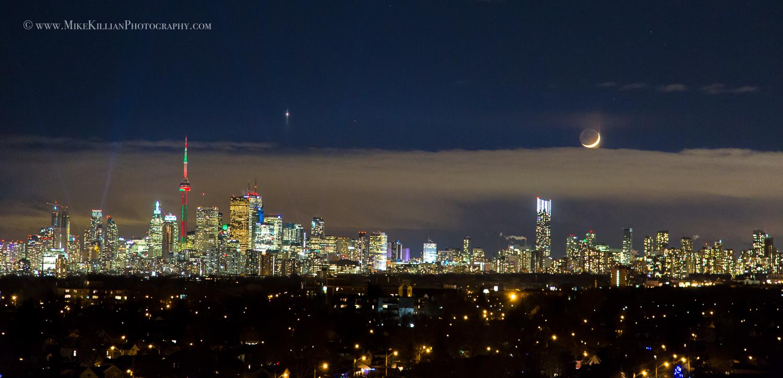 Moon and Venus Shine Over Toronto Skyline