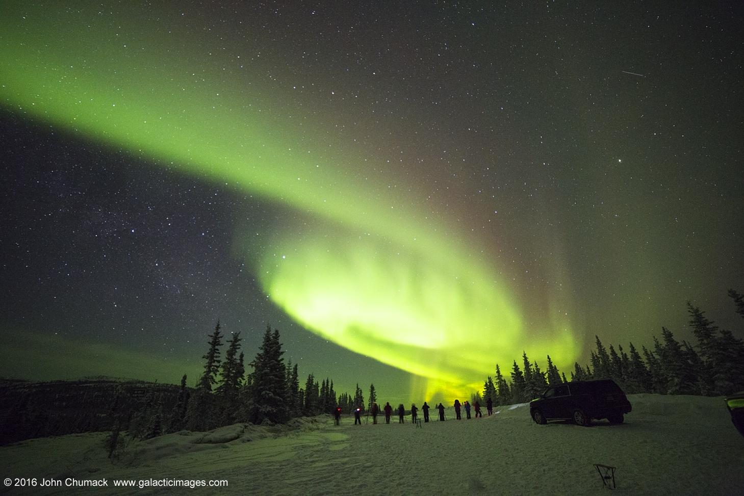 Alaskan Aurora Mimics Spiral Galaxy in Spectacular Skywatcher Photo
