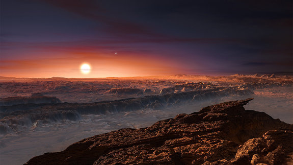 This artist's impression shows what it might look like on the surface of Proxima b, a planet that orbits the star nearest to Earth's sun.