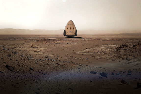 This artist's concept shows a SpaceX uncrewed Dragon capsule on the surface of Mars. This year, the private spaceflight company announced plans to send capsules to Mars as early as 2018.