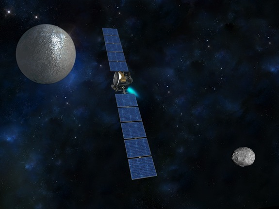 Artist's concept of NASA's Dawn spacecraft traveling from the giant protoplanet Vesta (in a Dawn photo at lower right) to dwarf planet Ceres (upper left).