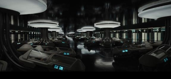 "The hibernation pods on the Starship Avalon in the movie ""Passengers."""