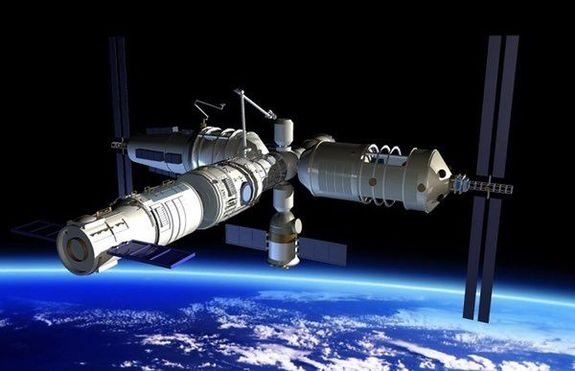 China's 60-ton medium-size space station is depicted in this artwork.