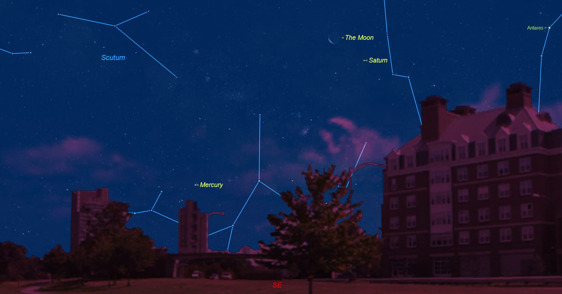 Saturn and Crescent Moon Pair off Before Dawn Tuesday
