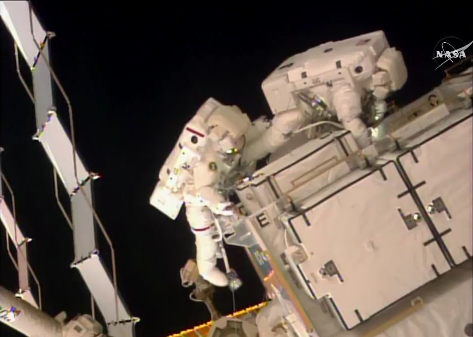 Spacewalking Astronauts Tackle Space Station Power System Upgrade
