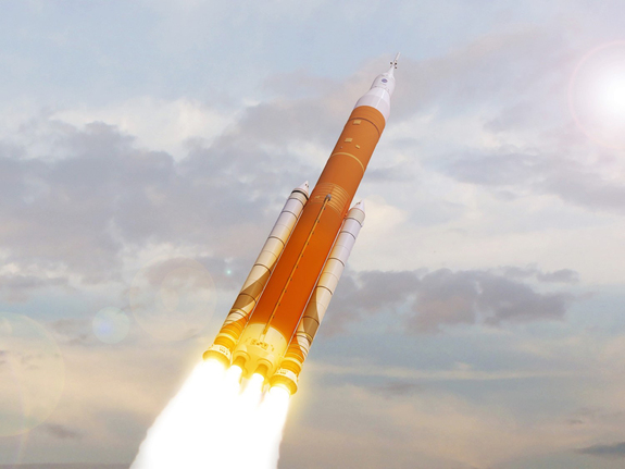 An artist's impression of the Space Launch System (SLS) rocket, currently being constructed by NASA.