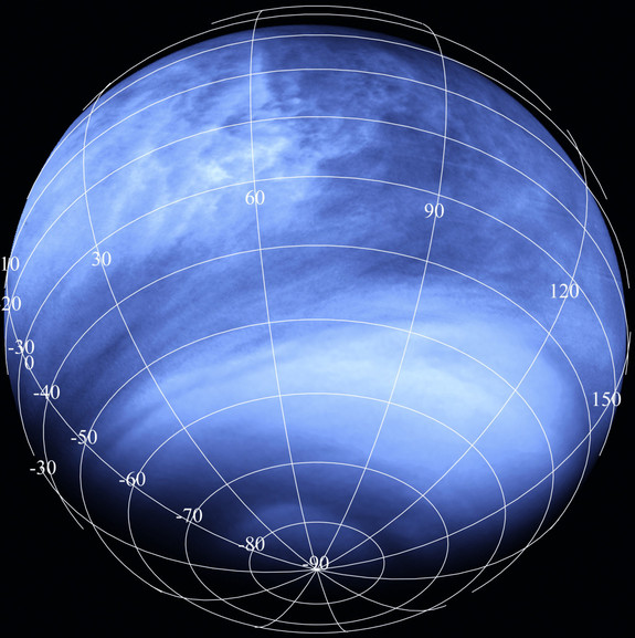 Venus seen in ultraviolet light by the European Space Ageny's Venus Express mission. The dark streaks in the clouds are where an unknown material is absorbing ultraviolet light. Could it be life?