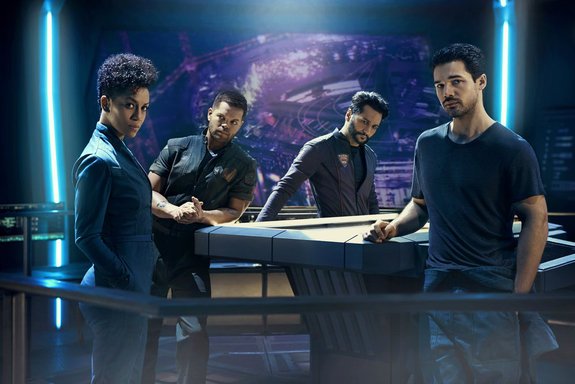 "The crew of the ship Rocinante from Syfy's space opera ""The Expanse,"" whose second season starts Feb. 1."