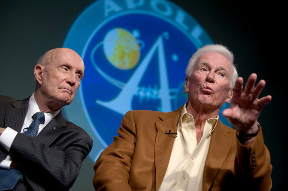 Gemini 9A and Apollo 10 crewmates Tom Stafford (left) and Gene Cernan together at an Apollo 11 40th anniversary press conference held at NASA Headquarters in July 2009.