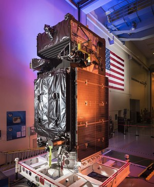 The missile warning satellite Space Based Infrared System Geosynchronous Earth Orbit 3, or SBIRS Geo-3, before launch.