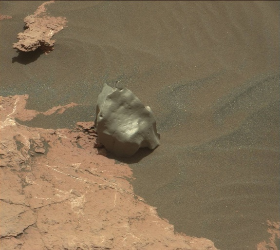 "NASA's Mars rover Curiosity found a rock that might have fallen from space. This photo shows the likely meteorite, known as ""Ames Knob,"" on the surface of Mars on Jan. 12, 2017."