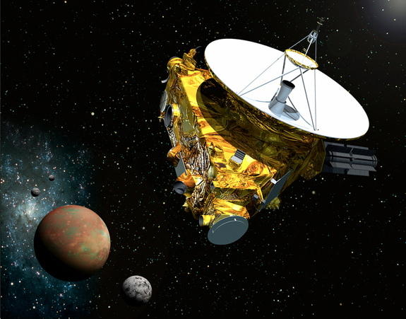Artist's illustration of NASA's New Horizons probe flying through the Pluto system in July 2015.