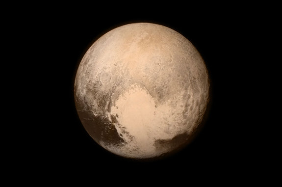 "New Horizons' photo of Pluto showing the heart-shaped area now informally named ""Tombaugh Regio"""