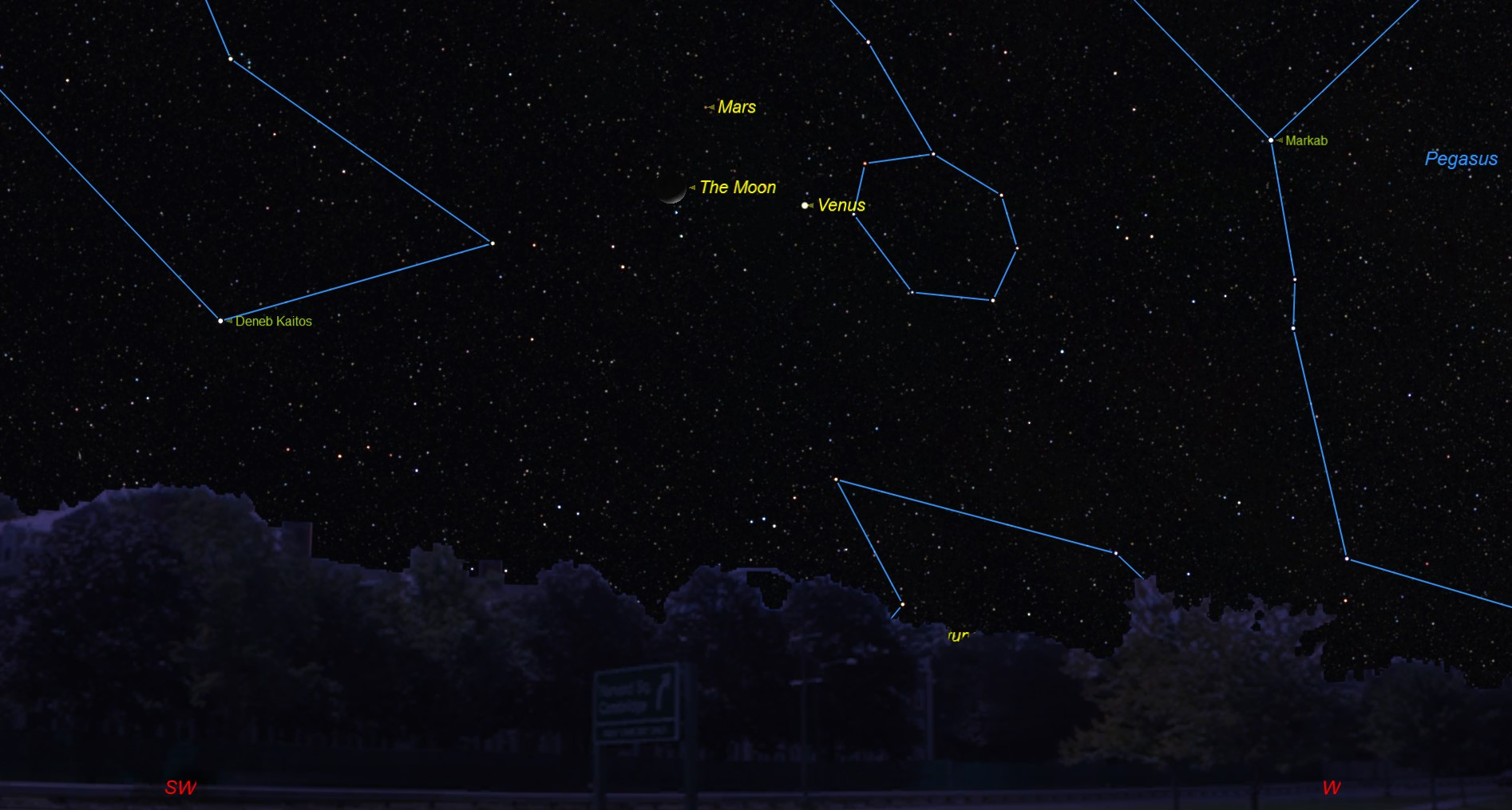 See Venus, Mars and Moon Crescent Form Cosmic Triangle Tonight