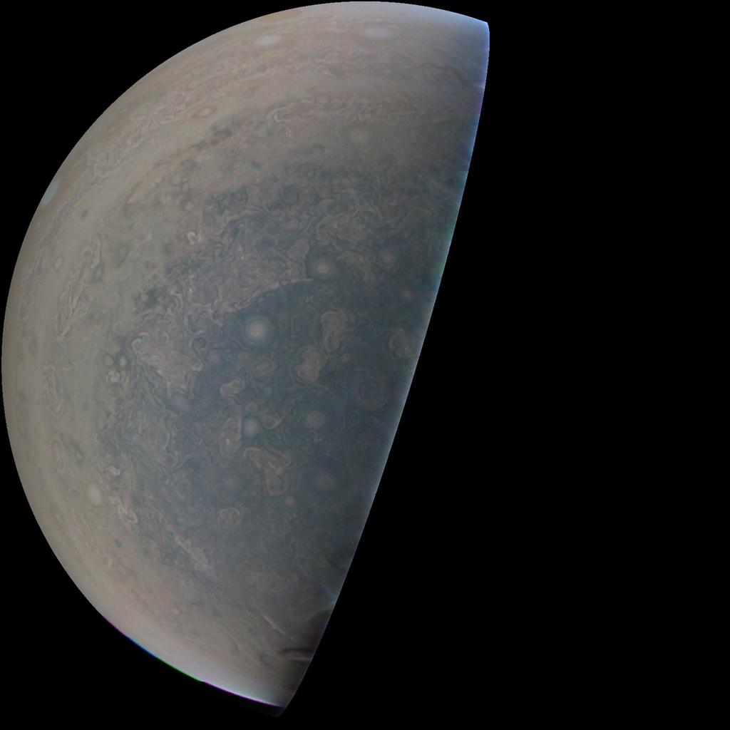 Jupiter's 'Antarctica' Swirls in New Flyby Photo