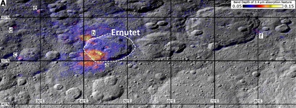 Data gathered by NASA's Dawn spacecraft show a region around Ceres' Ernutet crater where organic concentrations have been discovered (labeled