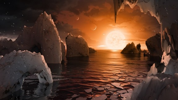 Artist's illustration of the surface of a planet in the TRAPPIST-1 system, which hosts seven roughly Earth-size worlds.