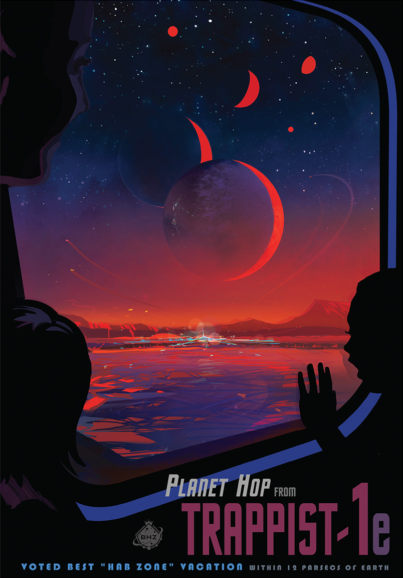 Visit TRAPPIST-1e! NASA Travel Poster Advertises Exoplanet Discovery