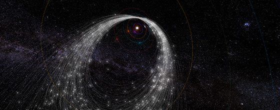 Meteor showers occur when Earth plows through streams of debris shed by comets on their trips around the sun. This animation shows the orbital path of the debris stream that causes the Kappa Cygnid shower, which peaks in mid-August.