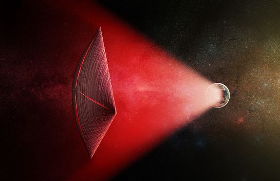 Artist's illustration of a light sail powered by a radio beam (red) generated on the surface of a planet. The leakage from such beams as they sweep across the sky would appear as superbright light flashes known as fast radio bursts, according to a new study.
