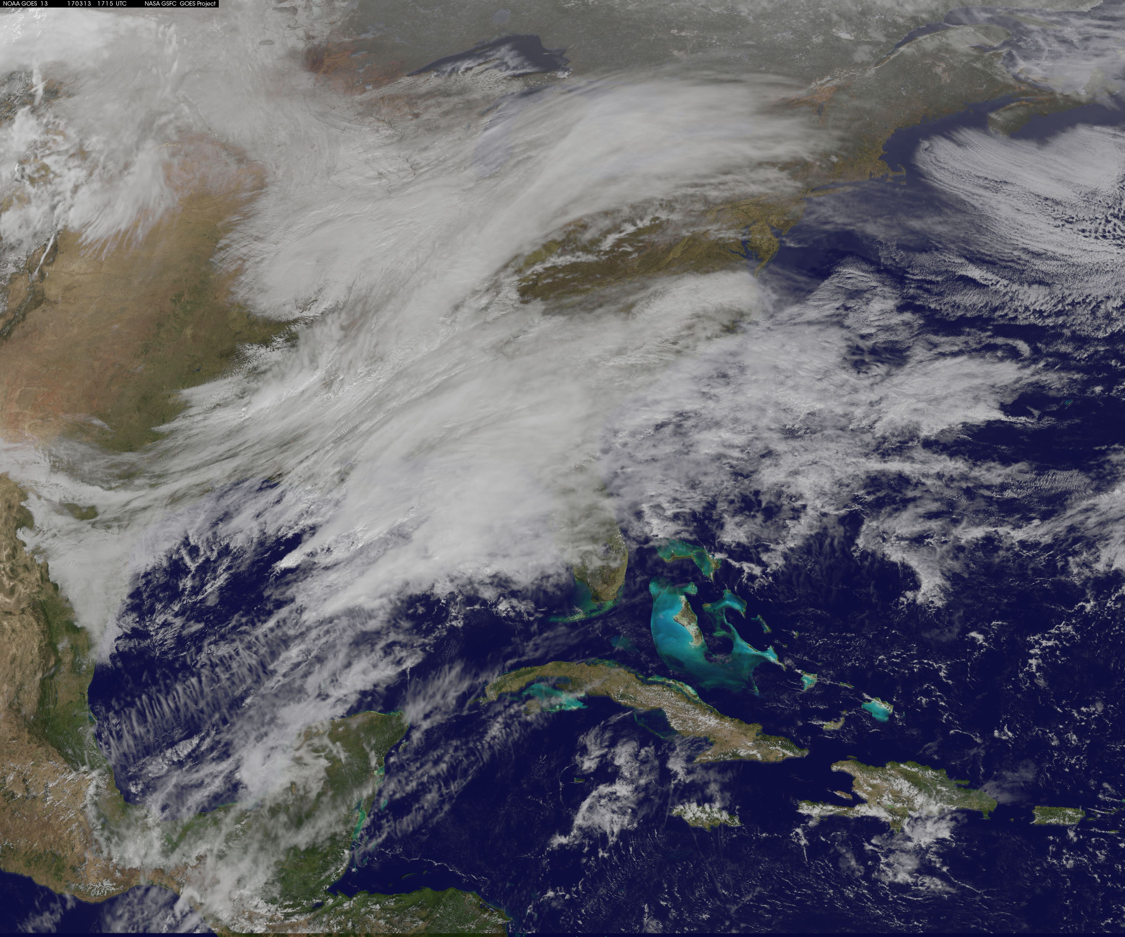 Satellites Track Huge Snow Storm's Approach to US East Coast (Video)