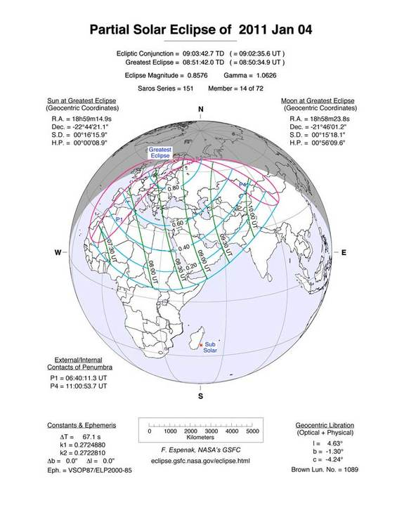 This NASA map depicts the path of the partial solar eclipse to occur on Jan. 4, 2011. Skywatchers in Sweden will get the best view of the Jan. 4 partial solar eclipse.